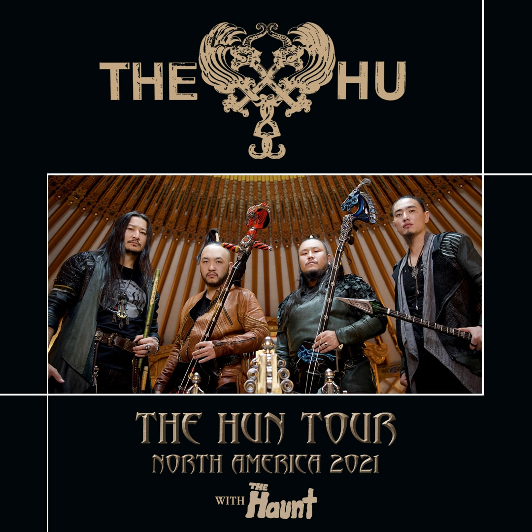 A concert poster for The Hu: The Hun Tour with Special Guest The Haunt.