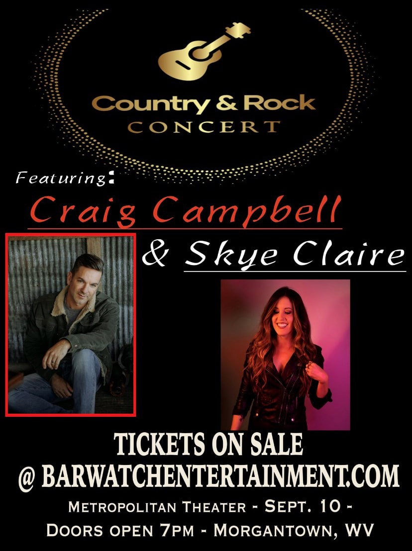 An event poster for Craig Campbell and Skye Claire on September 10 at the Metropolitan Theatre.