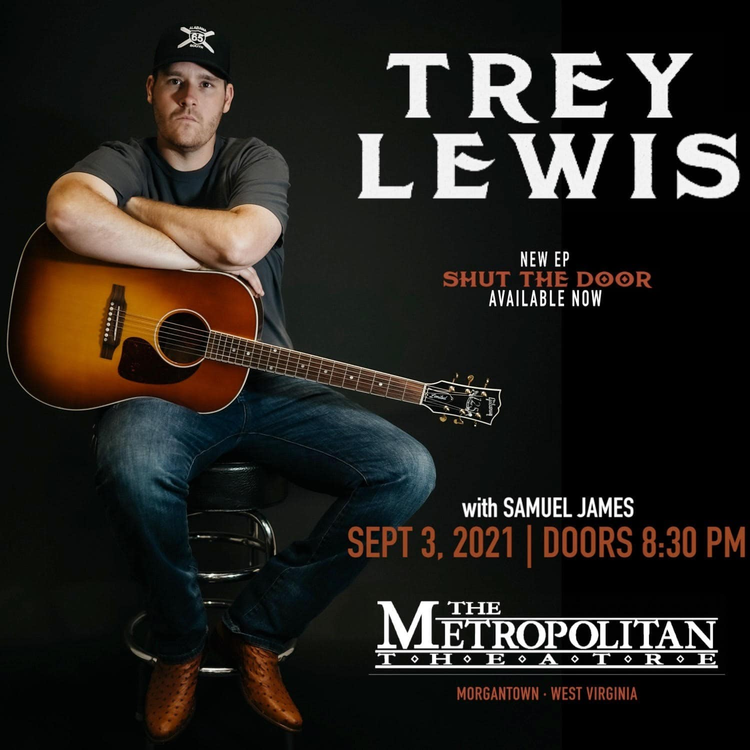 Trey Lewis live at The Metropolitan Theatre with Samuel James on September 3, 2021 at 8:45 p.m.