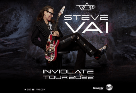 Drusky Entertainment & Kirschner Concerts Present STEVE VAI - The Inviolate Tour 2022 . Photo of Steve with guitar pose.